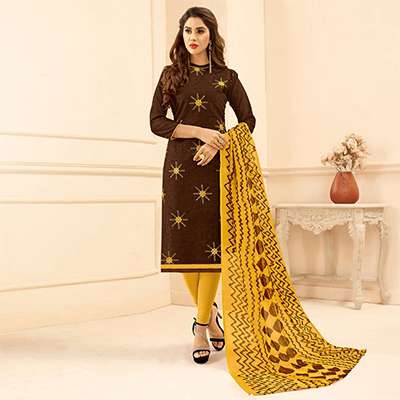 Brown Colored Embroidered Casual Wear Jacquard Suit