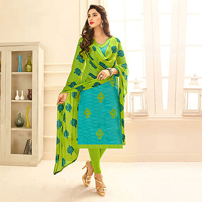 Sea Blue Colored Embroidered Casual Wear Jacquard Suit