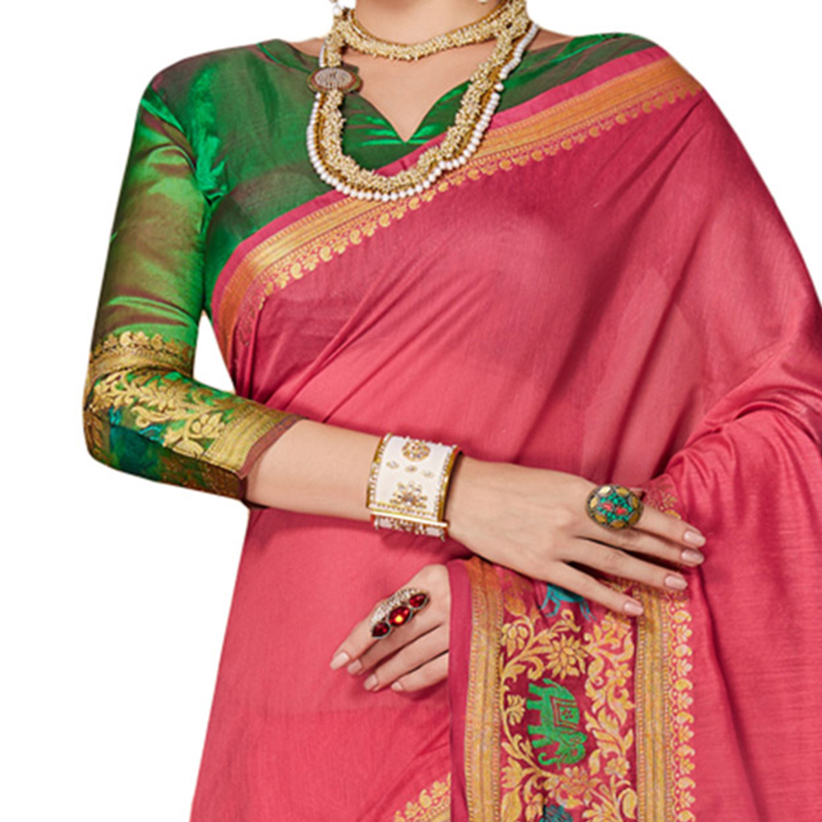 Opulent Pink Colored Festive Wear Weaving Cotton Silk Saree