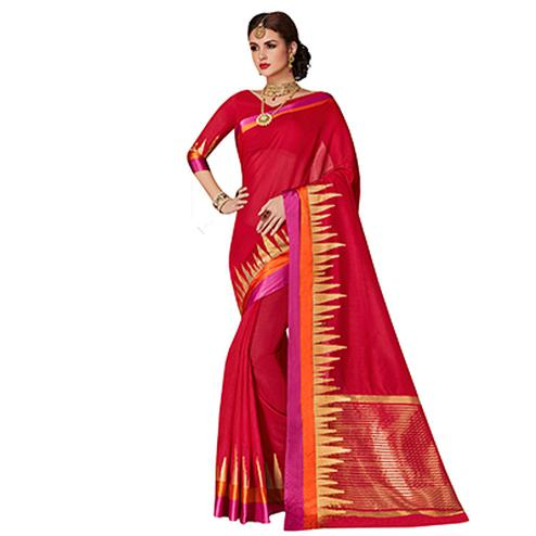 Deserving Red Colored Festive Wear Weaving Cotton Silk Saree