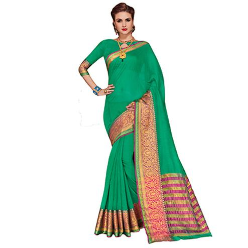 Elegant Sea Green Colored Festive Wear Weaving Cotton Silk Saree