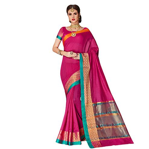 Desirable Dark Pink Colored Festive Wear Weaving Cotton Silk Saree