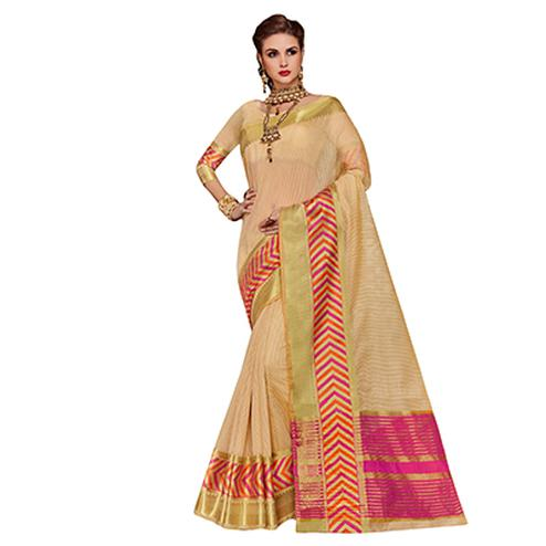Pleasant Cream Colored Festive Wear Weaving Cotton Silk Saree