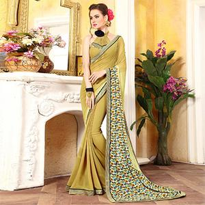 Stylish Gold Georgette Digital Printed Designer Saree