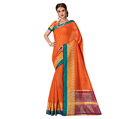 Awesome Orange Colored Festive Wear Weaving Cotton Silk Saree