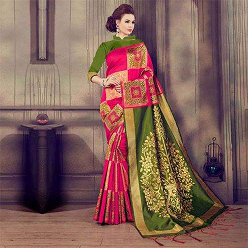 Adorable Pink - Green Colored Traditional Wear Kanjivaram Silk Saree