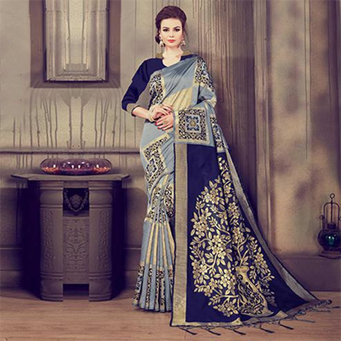 Charming Grey - Blue Colored Traditional Wear Kanjivaram Silk Saree