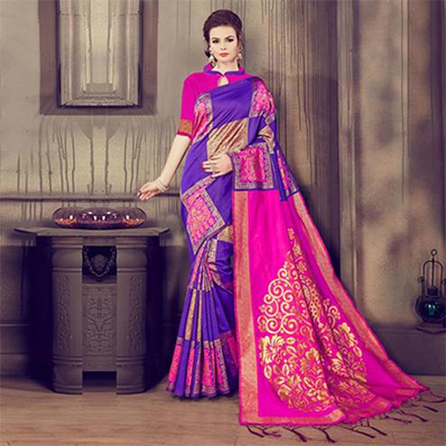 Ravishing Pink - Purple Colored Traditional Wear Kanjivaram Silk Saree