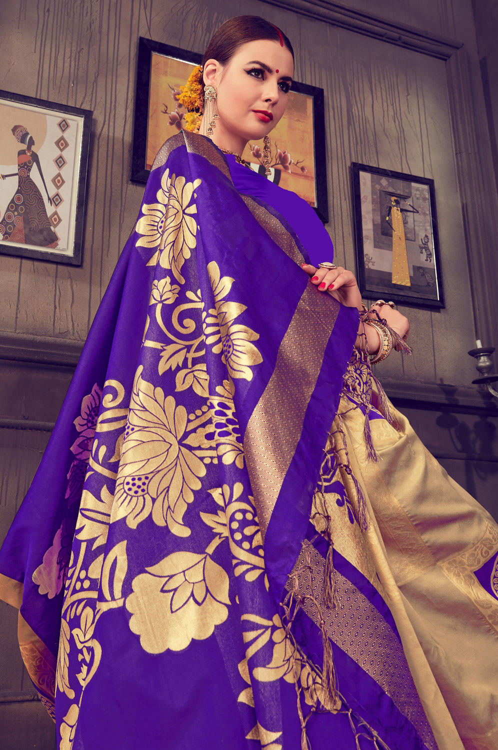 Blooming Beige - Blue Colored Traditional Wear Kanjivaram Silk Saree