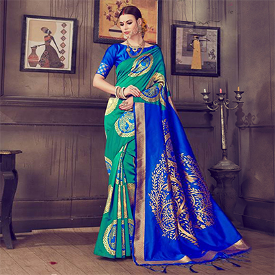 Mesmerising Rama Green - Blue Colored Traditional Wear Kanjivaram Silk Saree