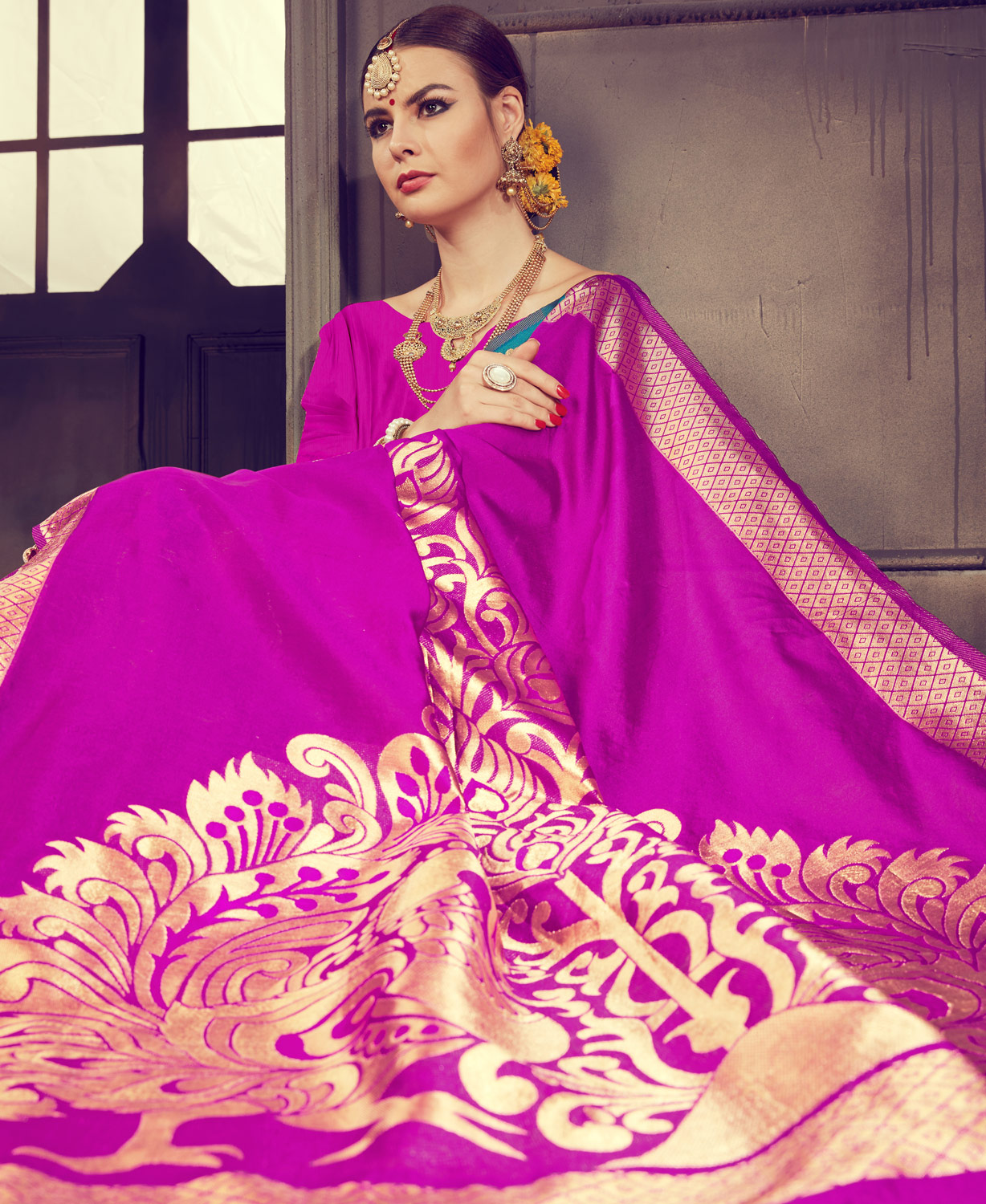 Eye-catching Blue - Pink Colored Traditional Wear Kanjivaram Silk Saree