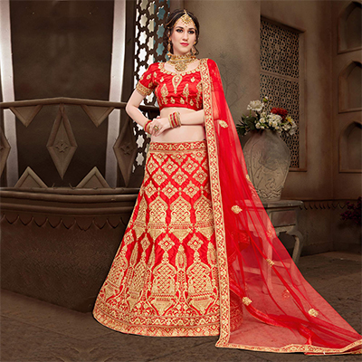 Flattering Red Colored Designer Heavy Embroidered Wedding Wear Art Silk Lehenga Choli
