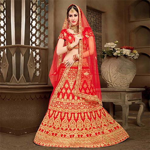 Charming  Red Colored Designer Heavy Embroidered Wedding Wear Art Silk Lehenga Choli