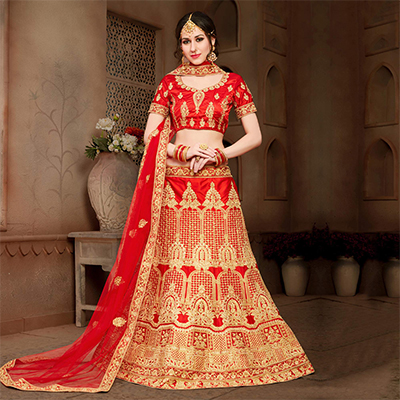 Sophisticated Red Colored Designer Heavy Embroidered Wedding Wear Art Silk Lehenga Choli