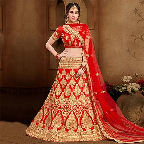 Arresting Red Colored Designer Heavy Embroidered Wedding Wear Art Silk Lehenga Choli