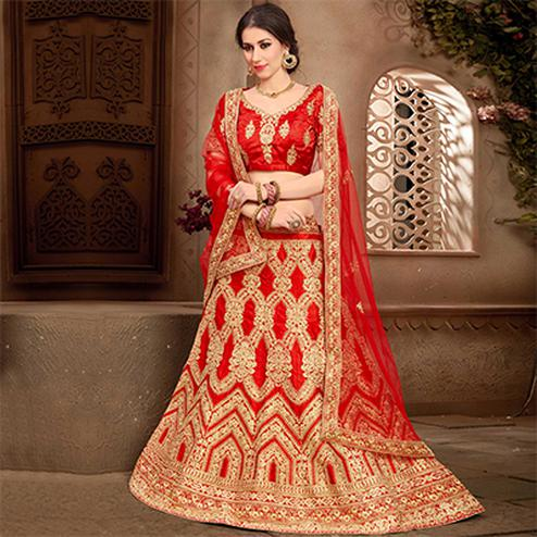 Impressive Red Colored Designer Heavy Embroidered Wedding Wear Art Silk Lehenga Choli