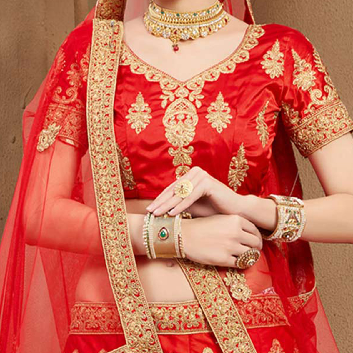 Innovative Red Colored Designer Heavy Embroidered Wedding Wear Art Silk Lehenga Choli