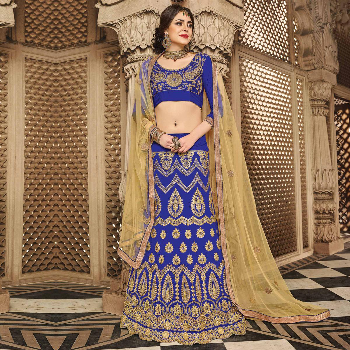 Adorning Royal Blue Colored Designer Traditional Wear Art Silk Lehenga Choli
