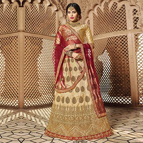 Prominent Beige Colored Designer Traditional Wear Art Silk Lehenga Choli