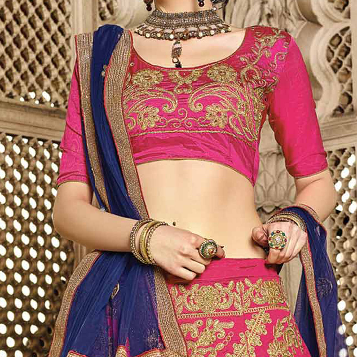 Glowing Pink Colored Designer Traditional Wear Art Silk Lehenga Choli