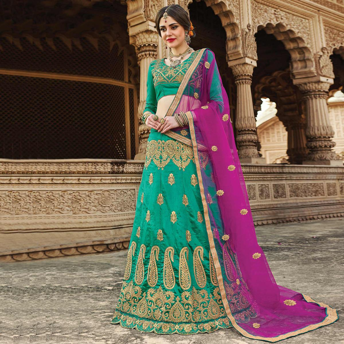 Buy Ravishing Green Colored Designer Traditional Wear Art Silk ...