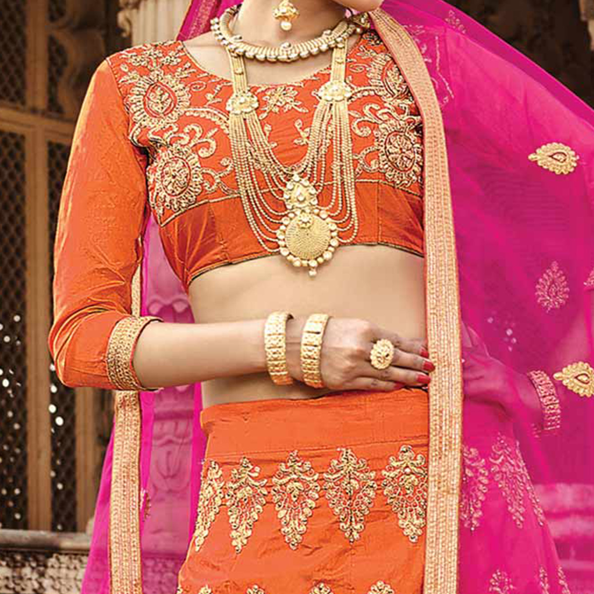 Charming Orange Colored Designer Traditional Wear Art Silk Lehenga Choli