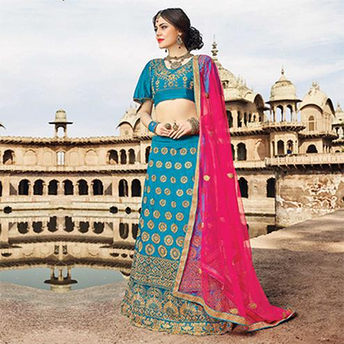 Alluring Blue Colored Designer Traditional Wear Art Silk Lehenga Choli
