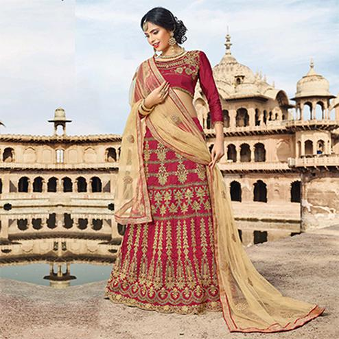 Elegant Maroon Colored Designer Traditional Wear Art Silk Lehenga Choli