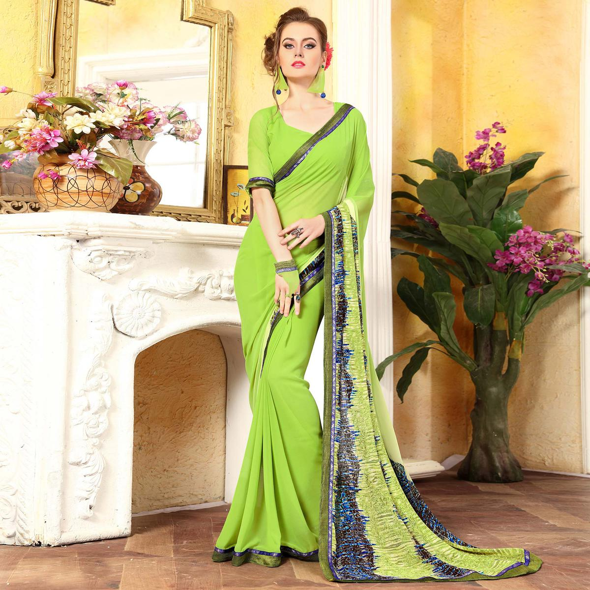 Dazzling Green Georgette Digital Printed Designer Saree