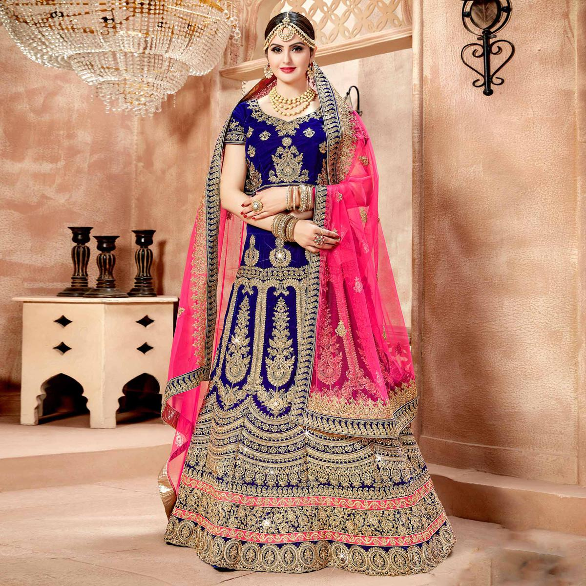 91ff1f130b Buy Adorable Royal Blue Colored Designer Heavy Embroidered Wedding Wear Velvet  Lehenga Choli for womens online India, Best Prices, Reviews - Peachmode