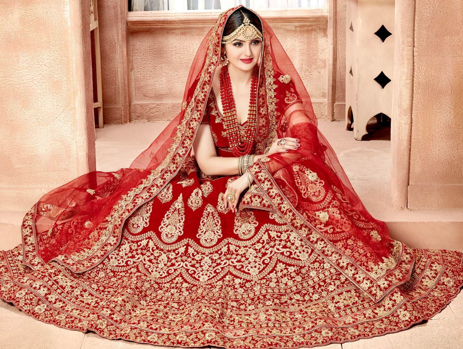 Awesome Maroon Colored Designer Heavy Embroidered Wedding Wear Velvet Lehenga Choli