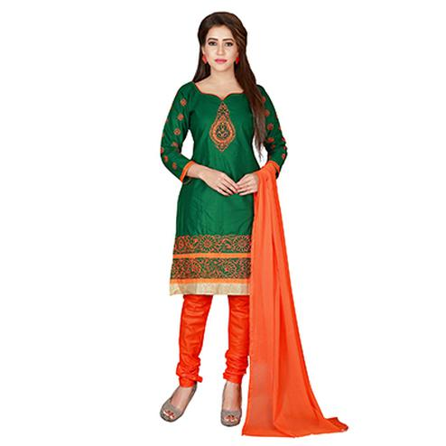 Glowing Green-Orange Colored Embroidered Chanderi Silk Dress Material