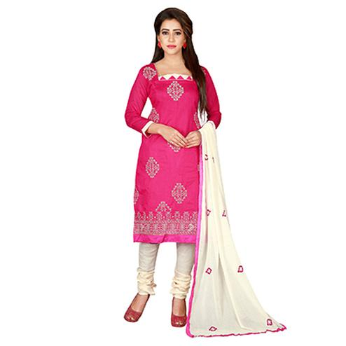 Pretty Pink-White Colored Embroidered Chanderi Silk Dress Material