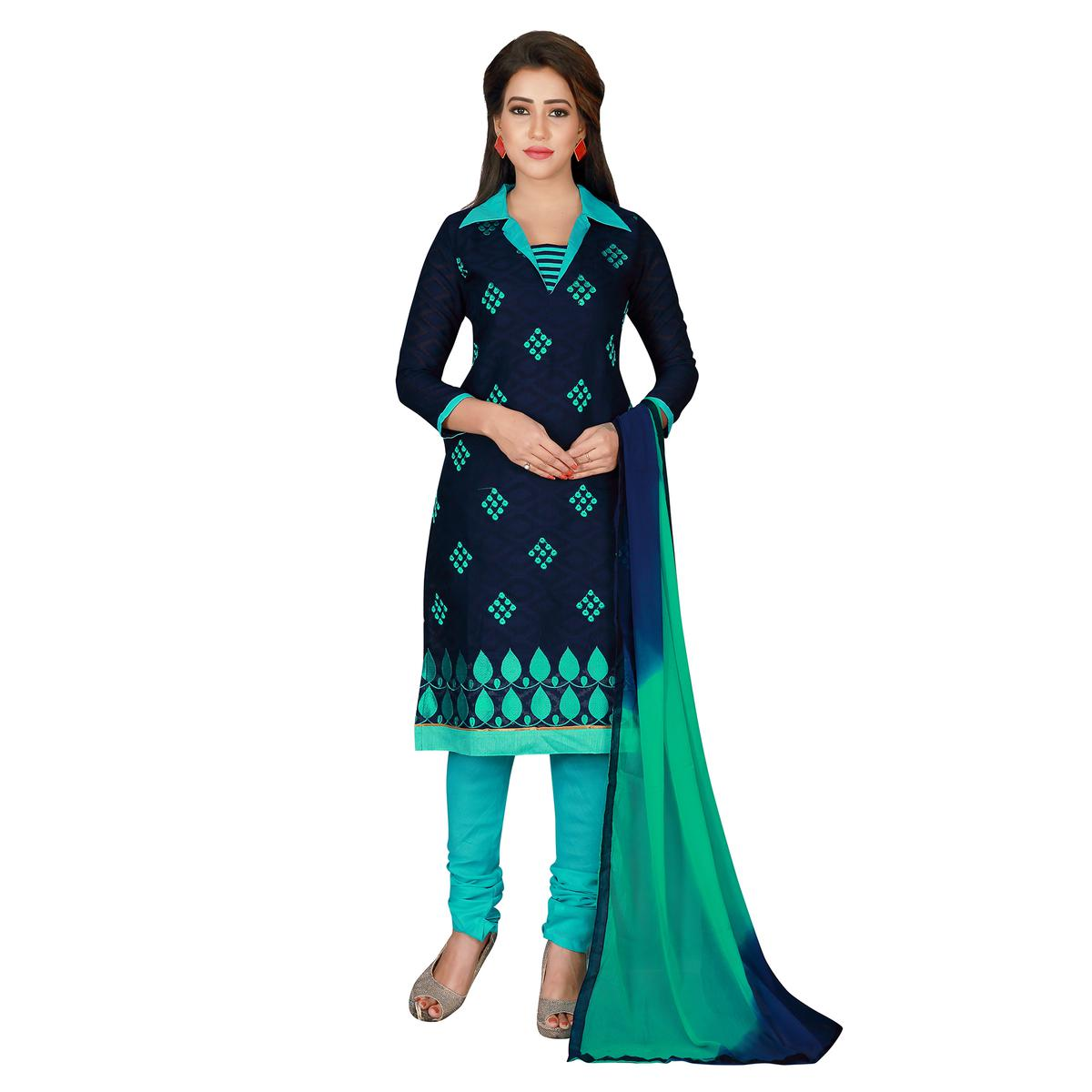 Beautiful Blue Colored Embroidered Chanderi Silk Dress Material