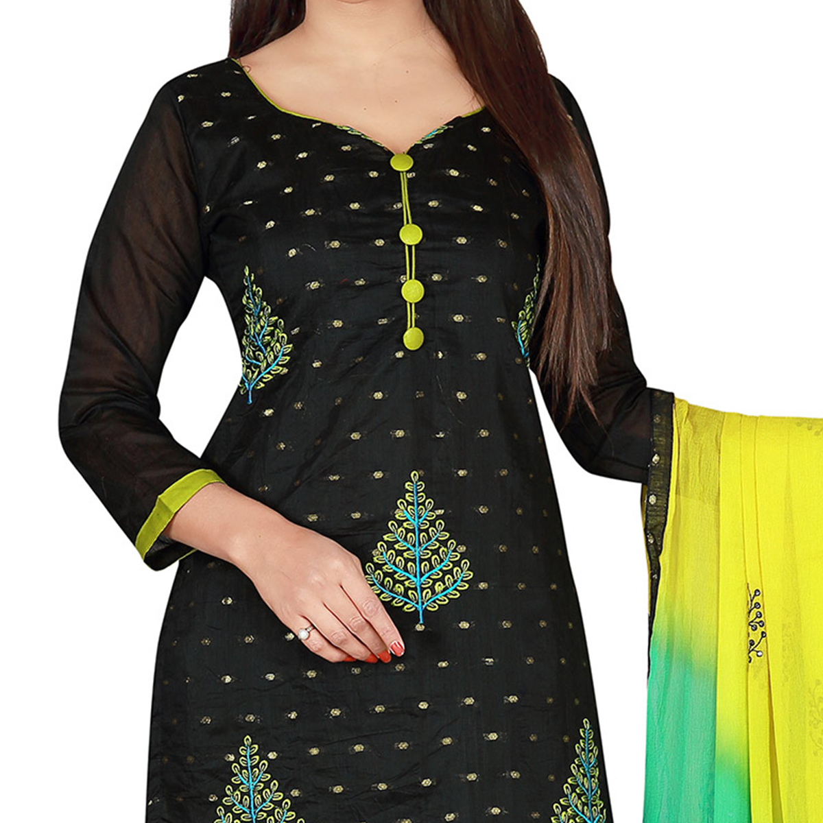 Demanding Black Colored Embroidered Chanderi Silk Dress Material