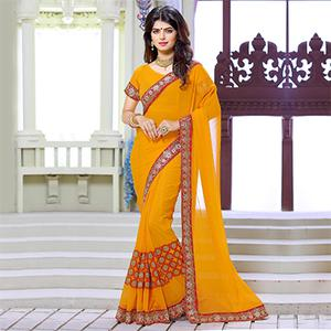 Orange Embroidered Work Georgette Saree