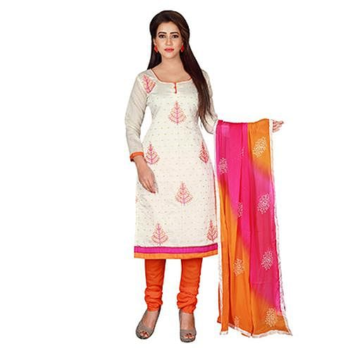 Pleasance White-Orange Colored Embroidered Chanderi Silk Dress Material