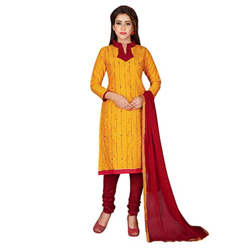 Gorgeous Yellow Colored Embroidered Chanderi Silk Dress Material