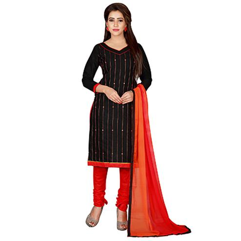 Attractive Black-Red Colored Embroidered Chanderi Silk Dress Material