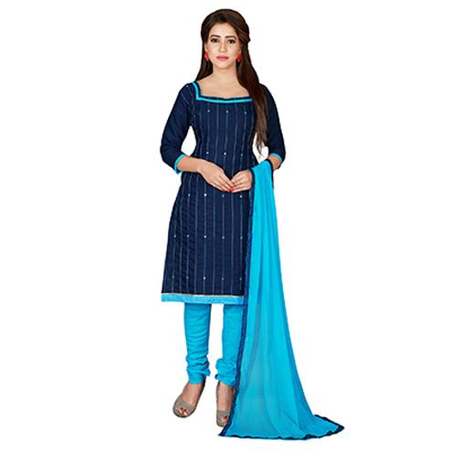 Eye-Catching Blue Colored Embroidered Chanderi Silk Dress Material