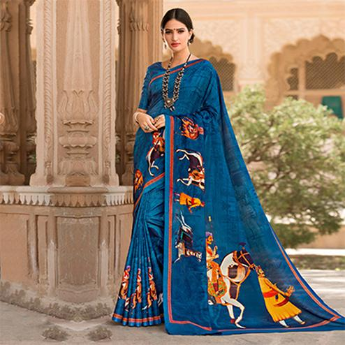 Blue Colored Casual Printed Tussar Art Silk Saree