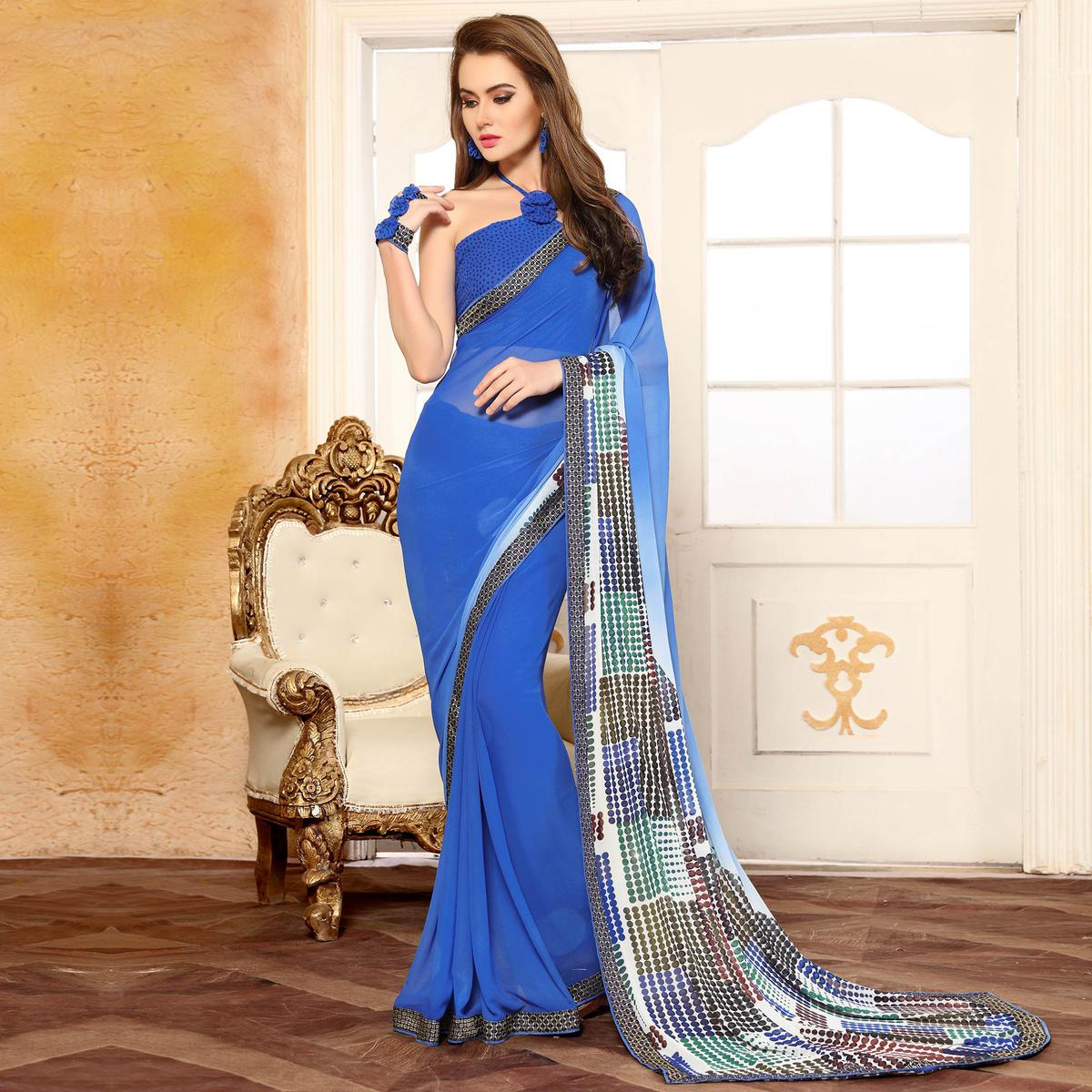 Resplendent Blue Georgette Digital Printed Designer Saree