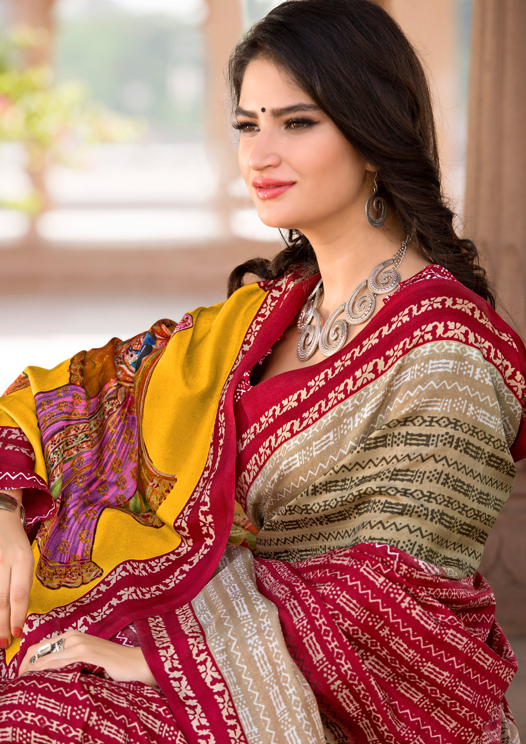 Beige-Dark Pink Colored Casual Printed Tussar Art Silk Saree