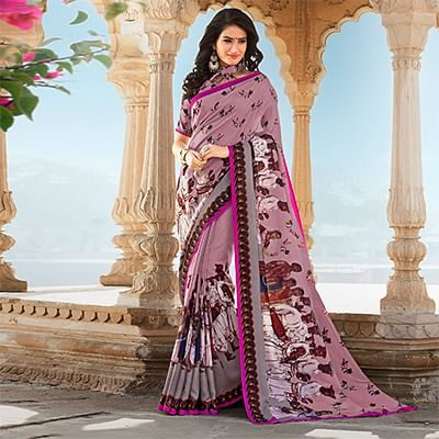 Light Wine Colored Casual Printed Tussar Art Silk Saree