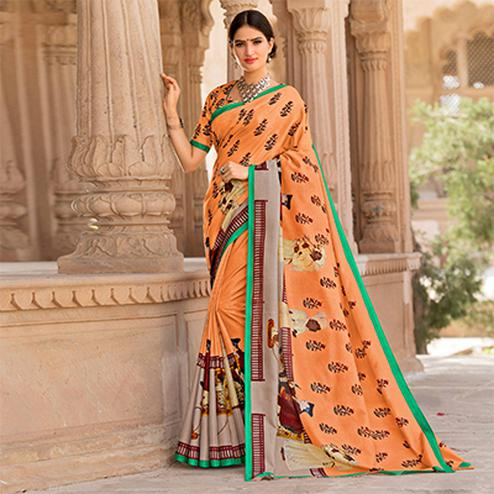 Light Orange Colored Casual Printed Tussar Art Silk Saree