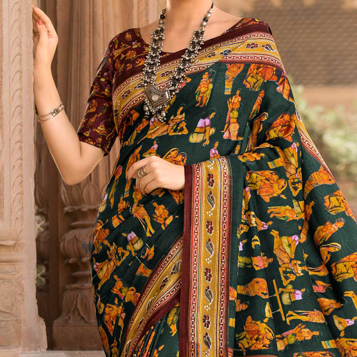 Dark Green Colored Casual Printed Tussar Art Silk Saree