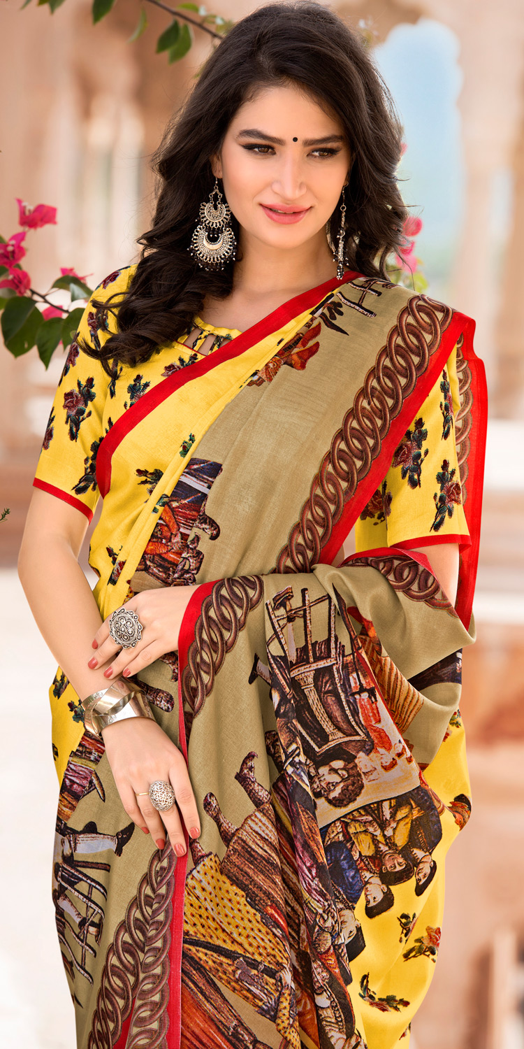 Yellow Colored Casual Printed Tussar Art Silk Saree