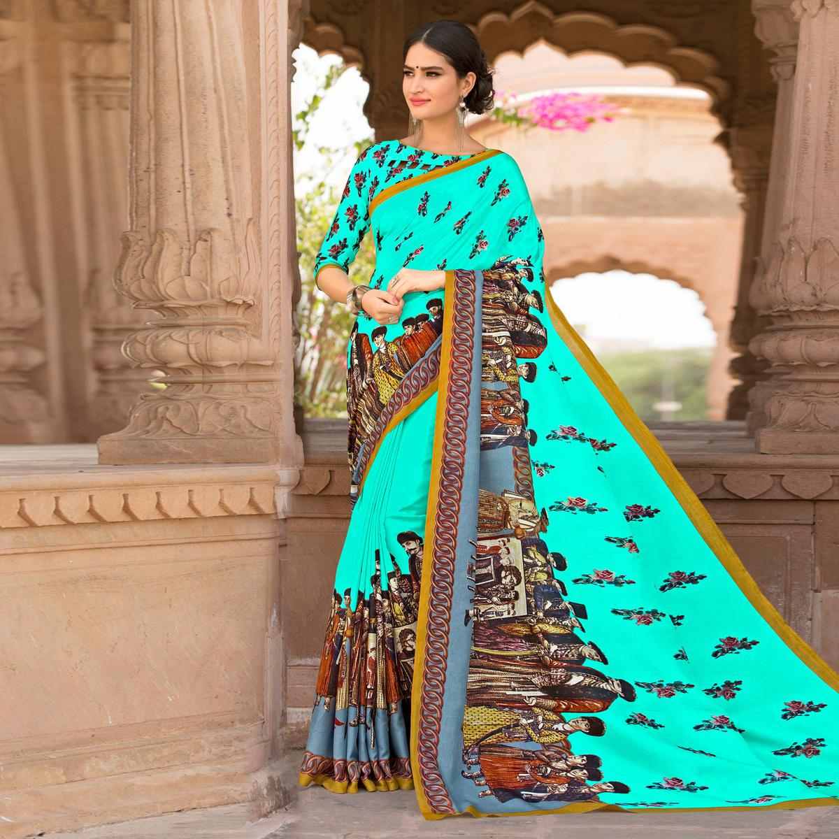 Aqua Blue Colored Casual Printed Tussar Art Silk Saree