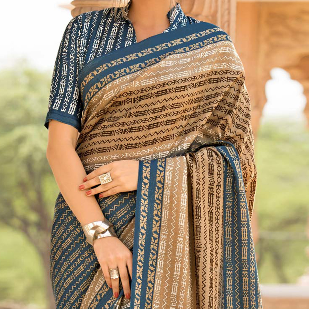 Blue-Beige Colored Casual Printed Tussar Art Silk Saree