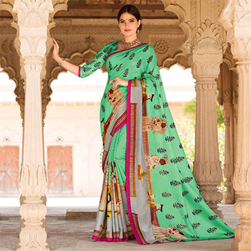 Light Green Colored Casual Printed Tussar Art Silk Saree